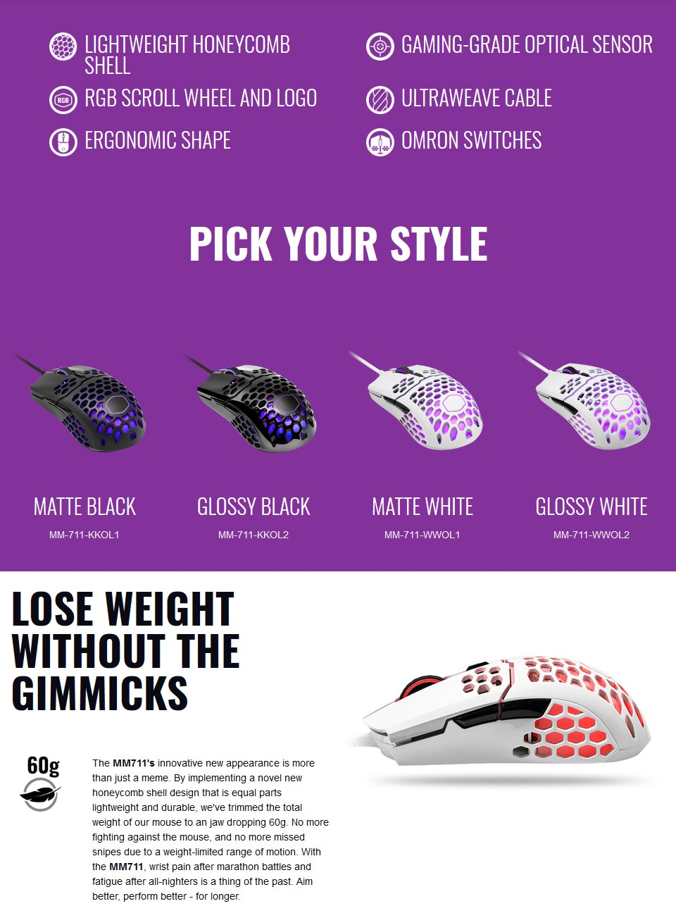 Cooler Master MM711 RGB Gaming Mouse Matte Black features 2