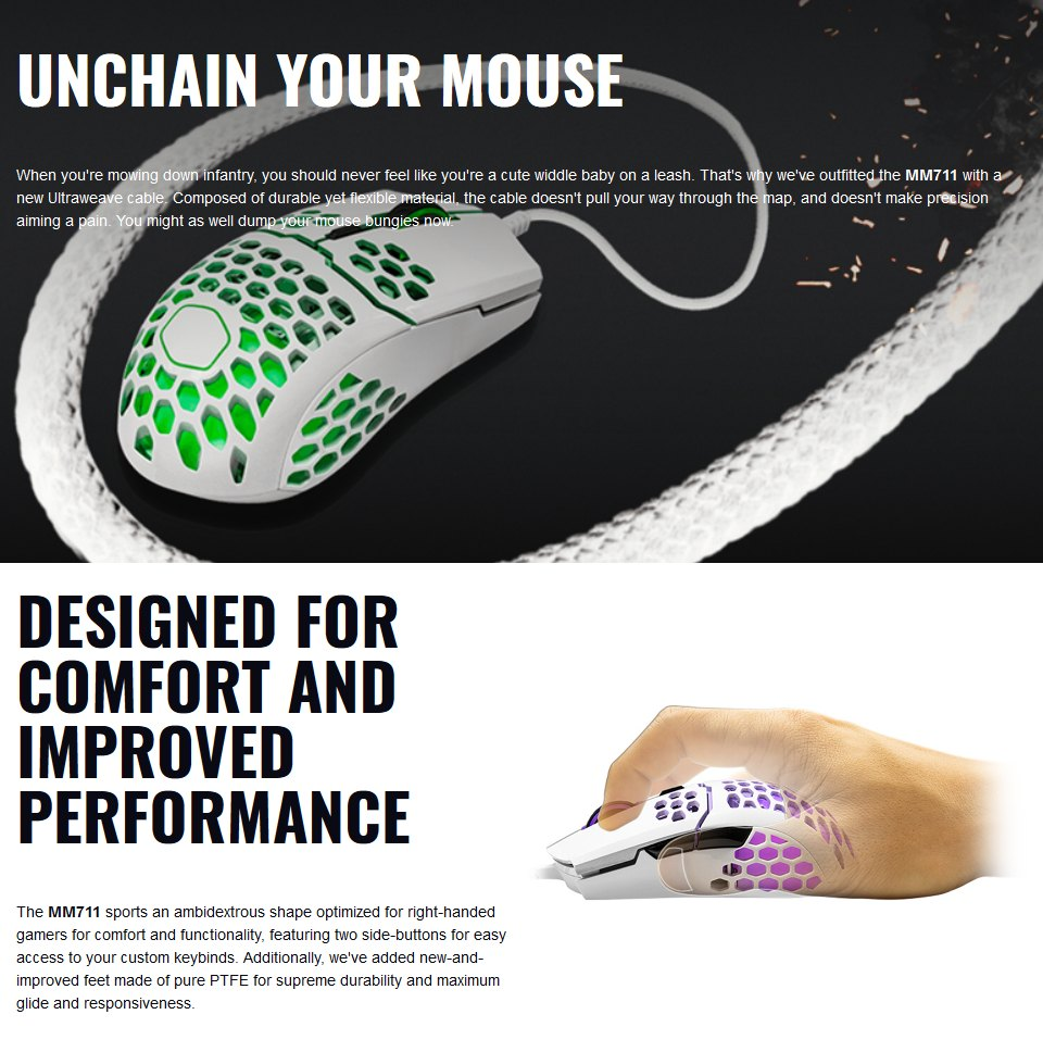 Cooler Master MM711 RGB Gaming Mouse Matte White features 3