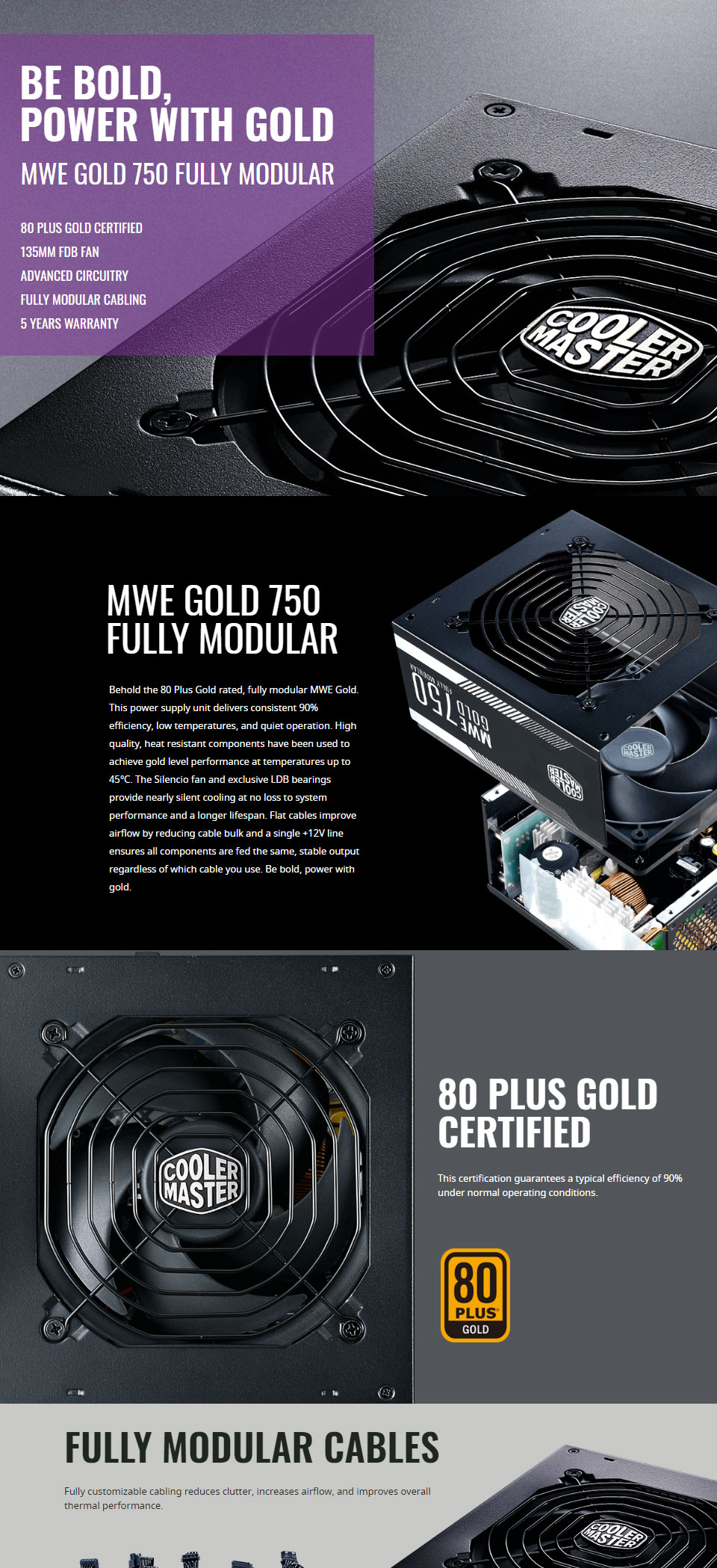 Cooler Master Mwe Gold Fully Modular 750w Power Supply Mpy 7501