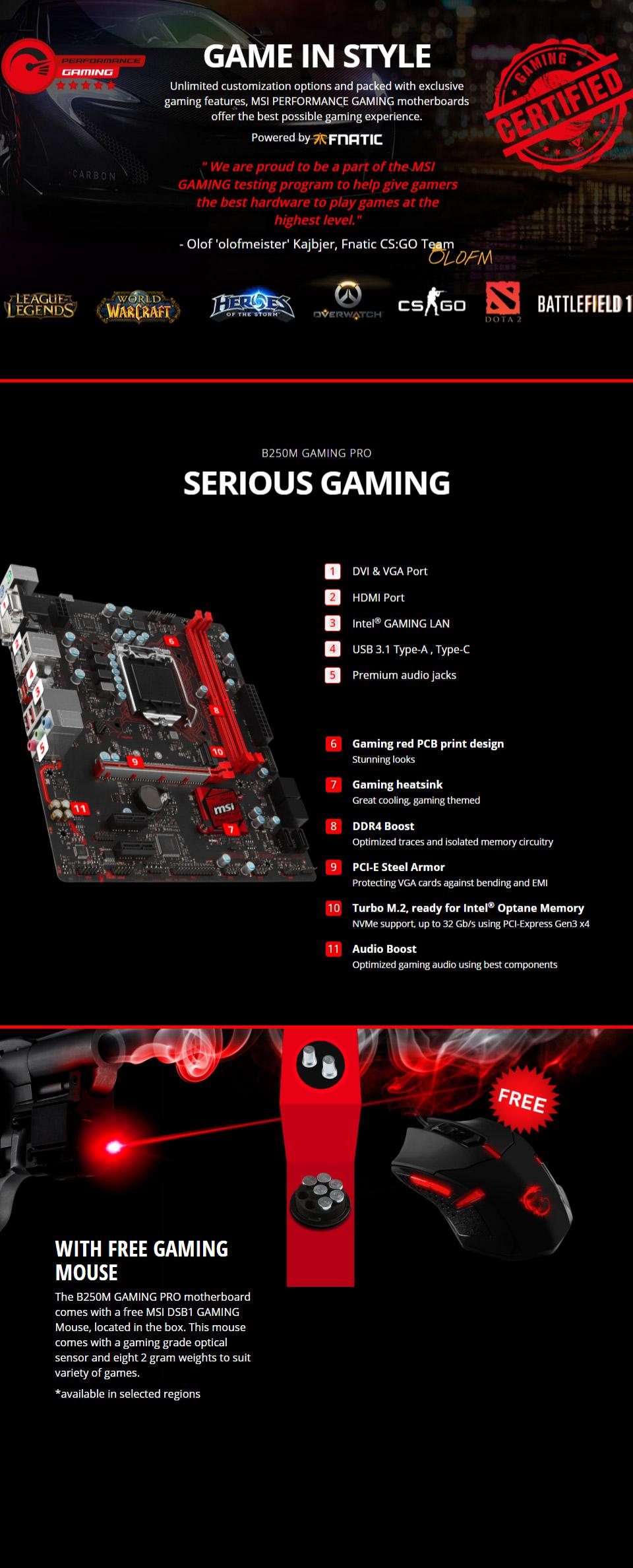 MSI B250M Gaming Pro Motherboard [MSI-B250M-GAMING-PRO] : PC
