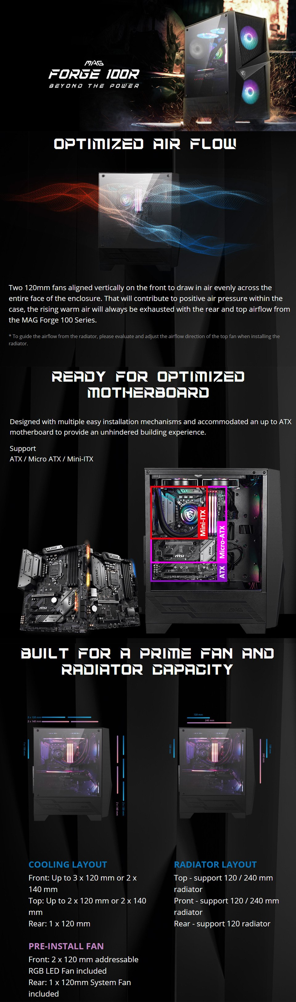 MSI Forge 100R RGB Tempered Glass Case features