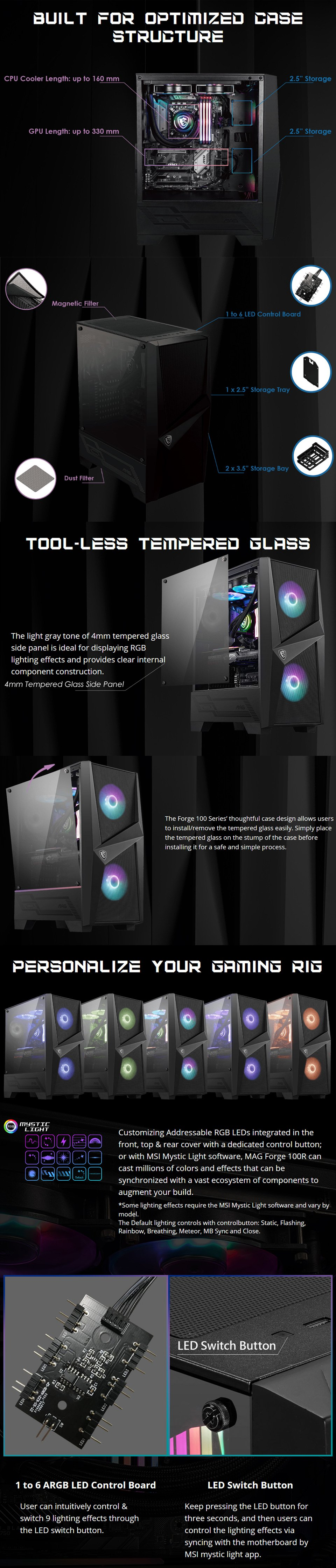 MSI Forge 100R RGB Tempered Glass Case features 2