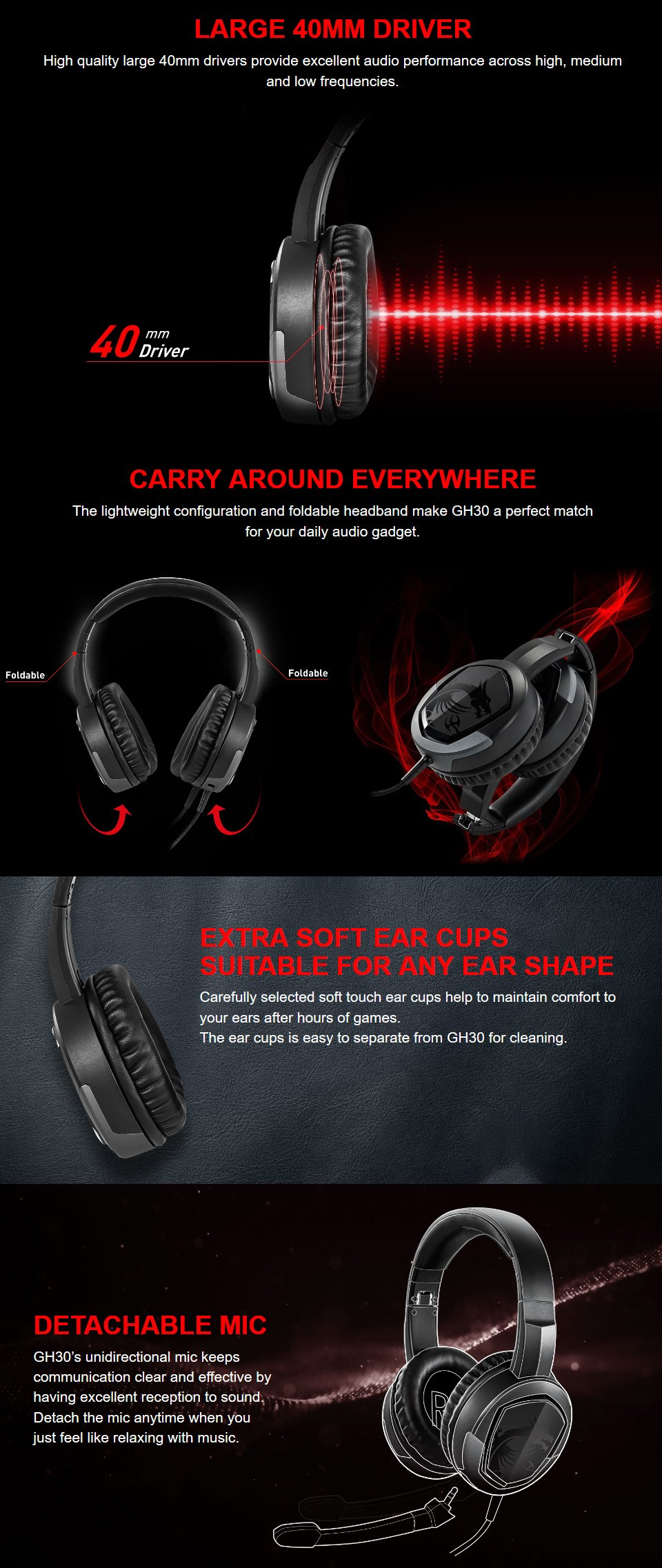 MSI Immersive GH30 V2 Gaming Headset features