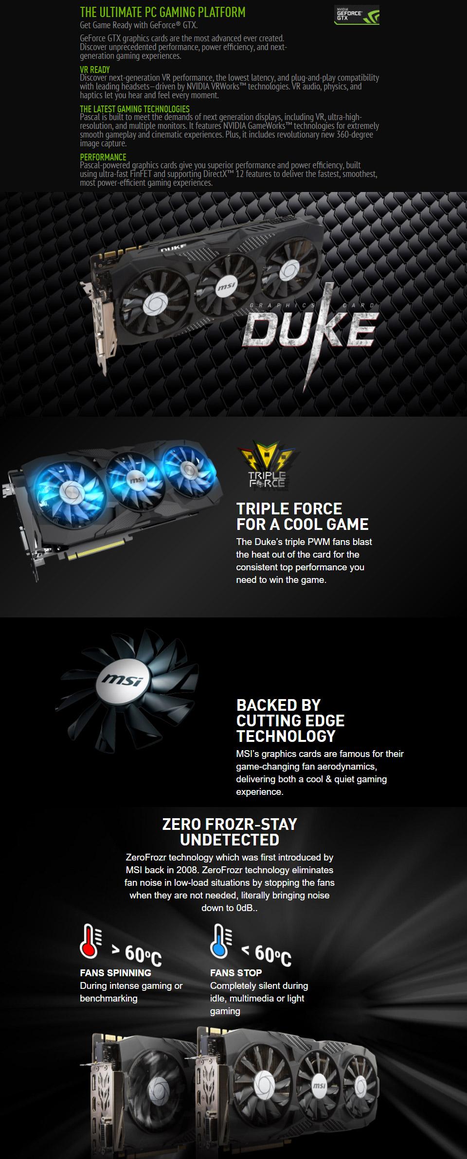 MSI GeForce GTX 1070 Duke OC 8GB [MSI-GTX1070-8G-DUKE-OC