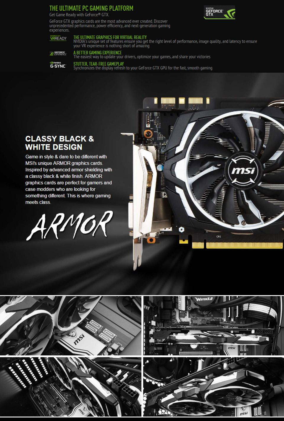 MSI GeForce GTX 1070 Armor OC 8GB [MSI-GTX1070-ARMOROC-8G] : PC Case