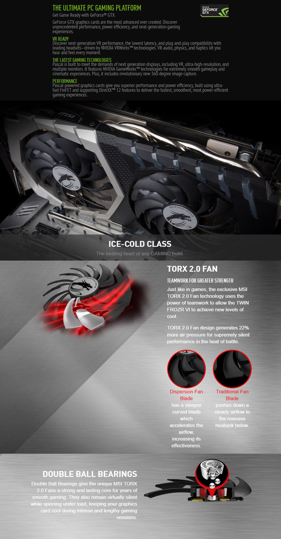 MSI GeForce GTX 1070 Quick Silver 8GB [MSI-GTX1070-QUICKSILVER-8GB
