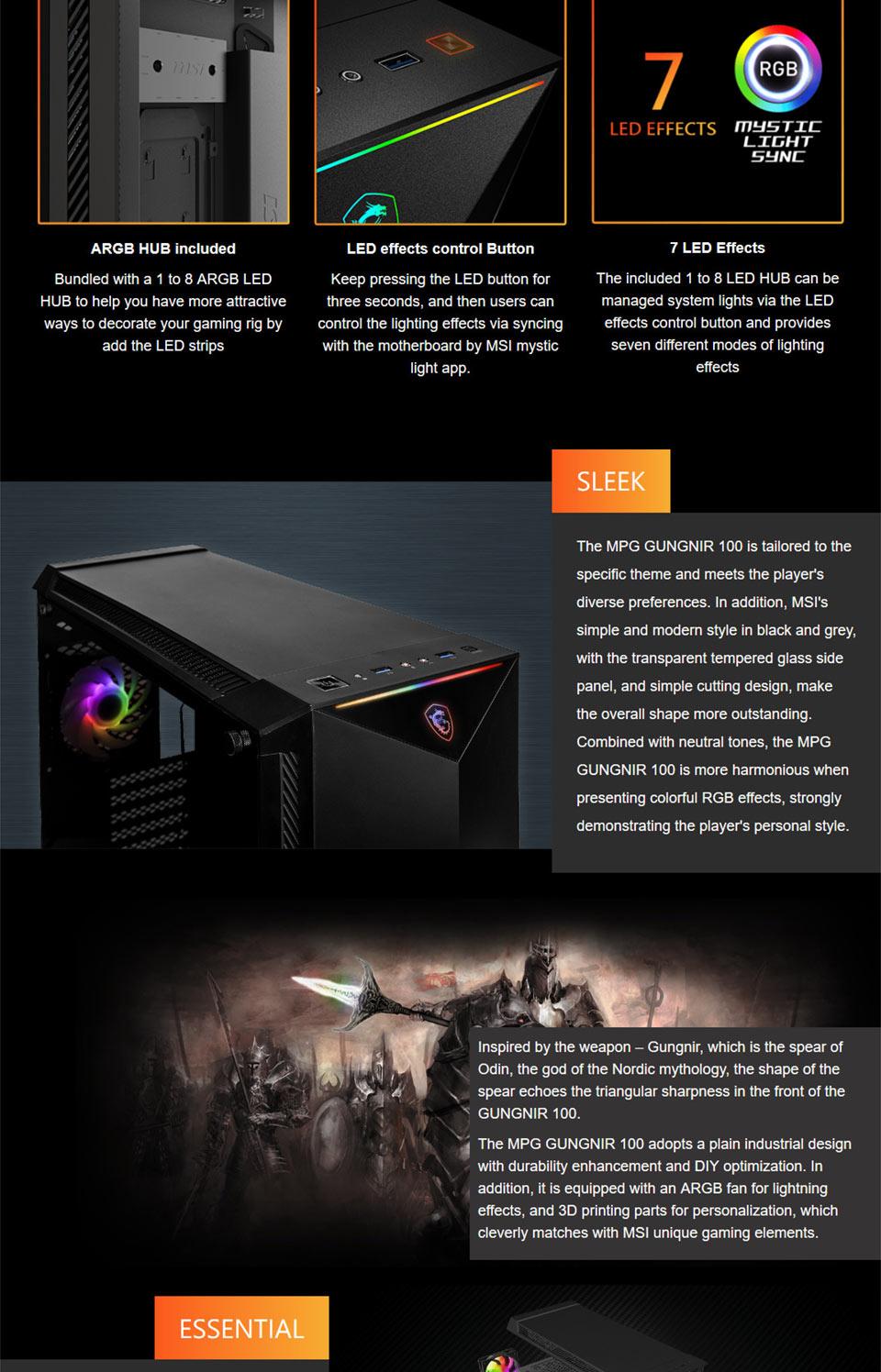 MSI Gungnir 100 RGB Tempered Glass Case
