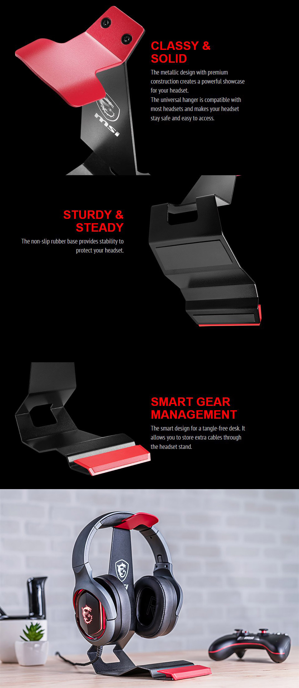 MSI HS01 Headset Stand features