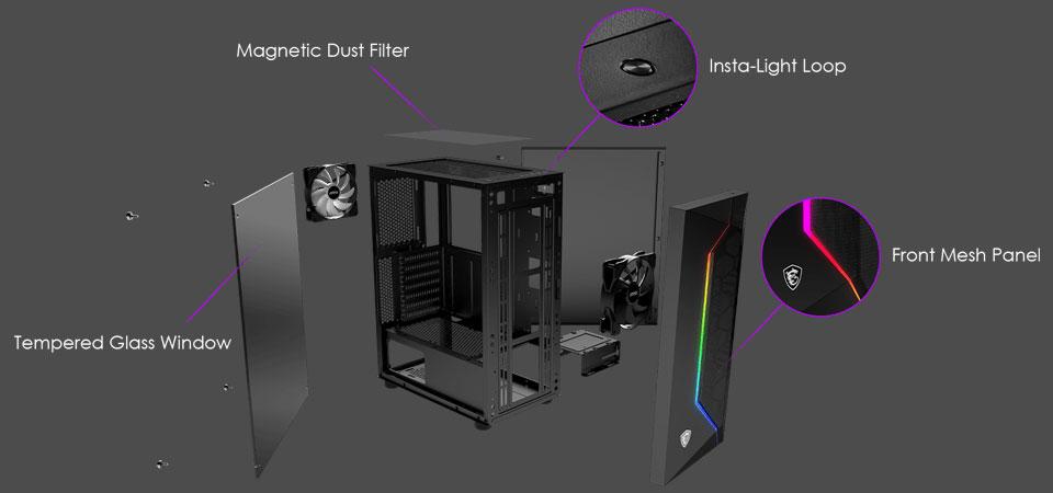 Buy MSI MAG Vampiric 100R ARGB Tempered Glass Case Black [MSI-VAMPIRIC-100R]    PC Case Gear Australia