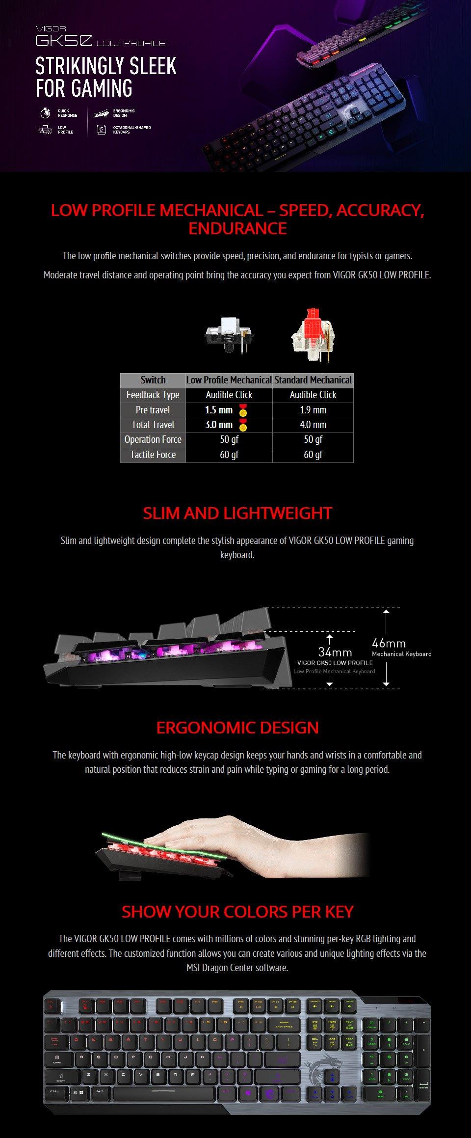 MSI Vigor GK50 Low Profile Mechanical Keyboard features