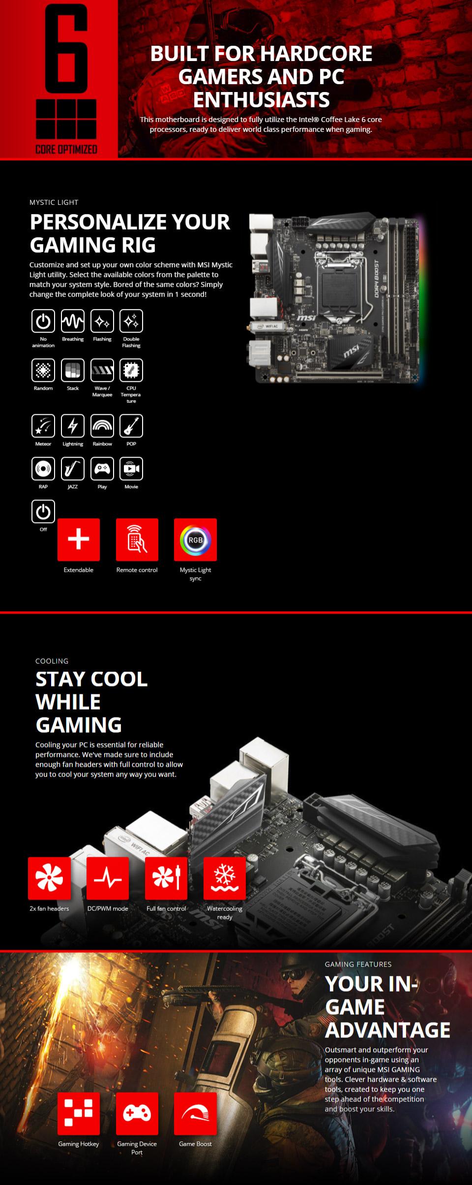 MSI Z370I Gaming Pro Carbon AC Motherboard [MSI-Z370I-GAMING-PRO