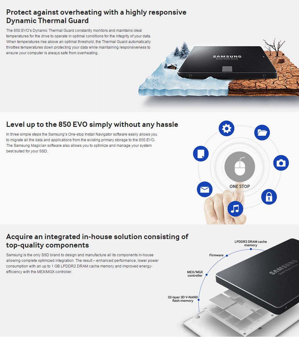 Samsung 850 EVO 500GB SSD [MZ-75E500BW] : PC Case Gear