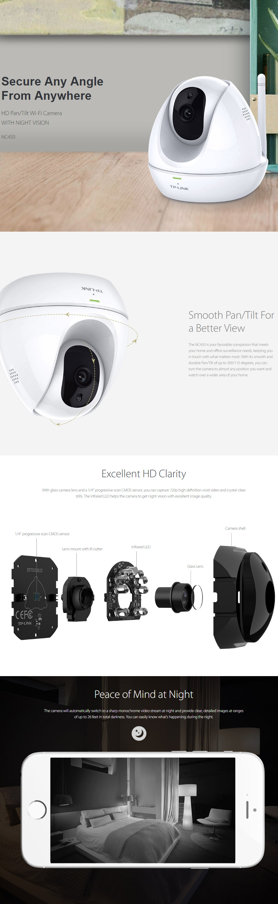 TP-Link NC450 HD Pan/Tilt Wi-Fi Camera with Night Vision [TL