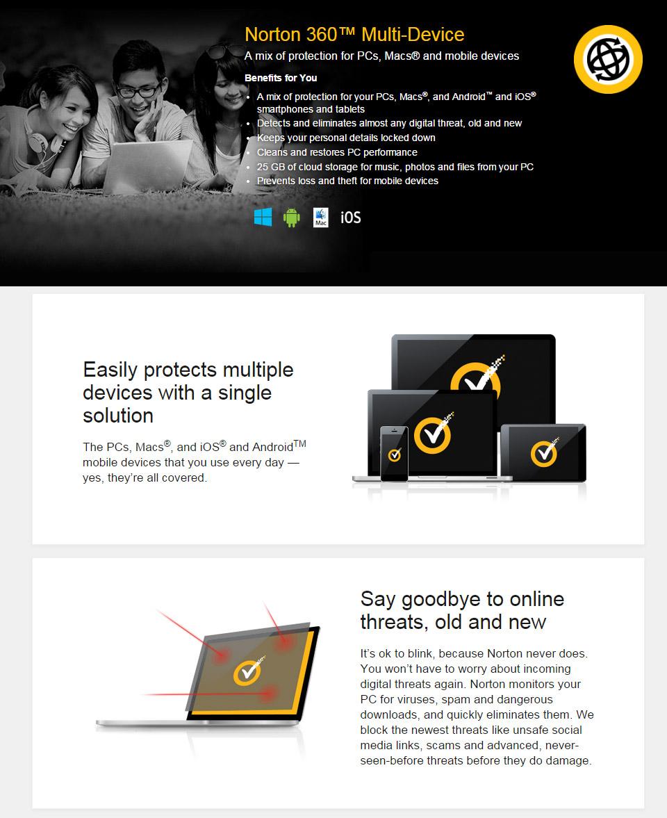 Symantec Norton 360 Multi-Device 1 Year 5 Devices Retail [NT360MD5U2014] : PC Case Gear