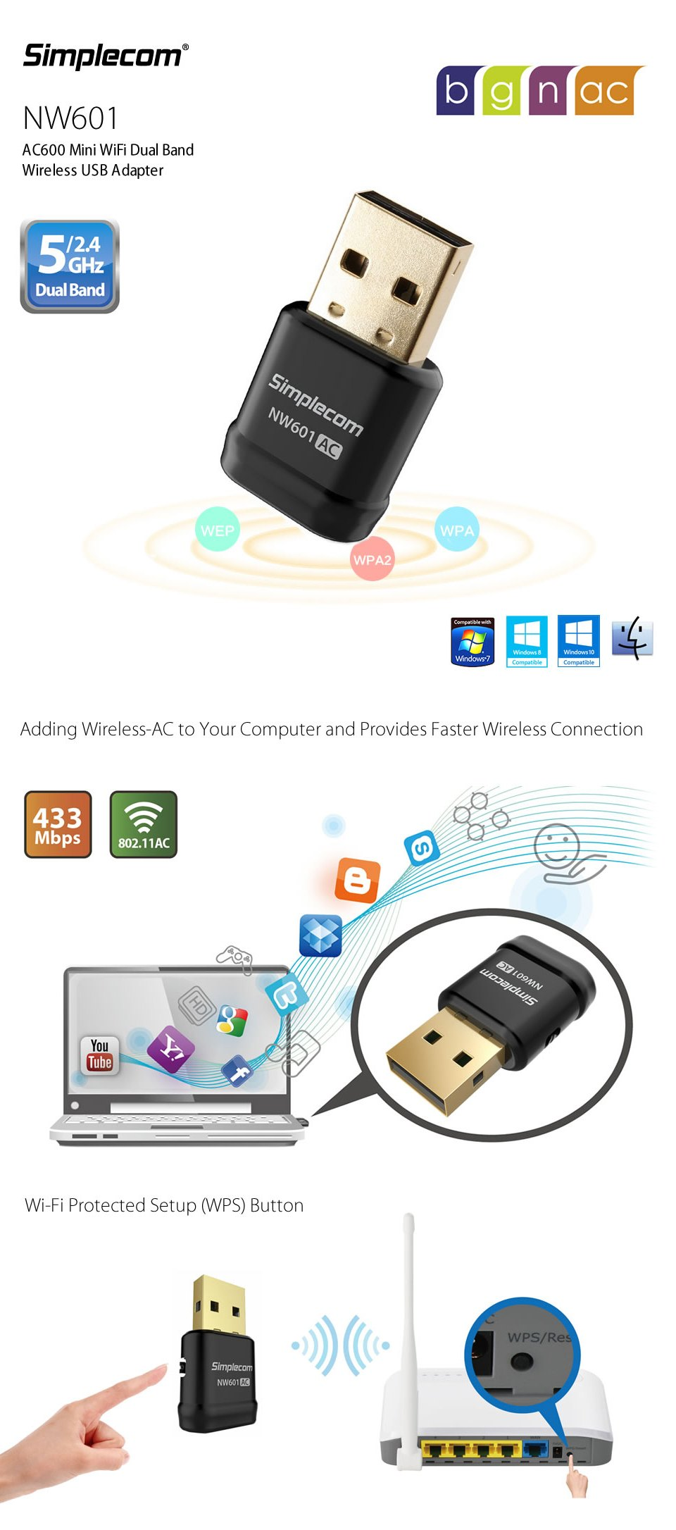 Simplecom NW601 AC600 Mini Wi-Fi Dual Band Wireless USB Adapter features