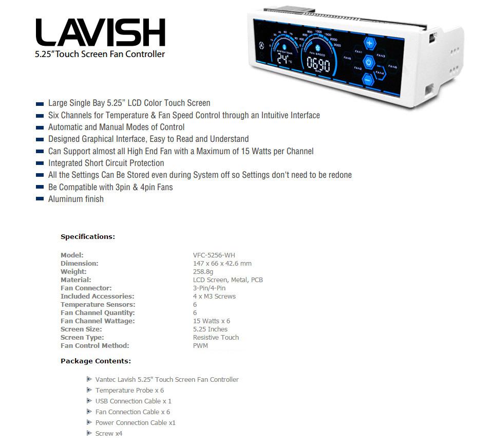 Vantec Lavish Touch Screen Fan Controller White [VFC-5256-WH
