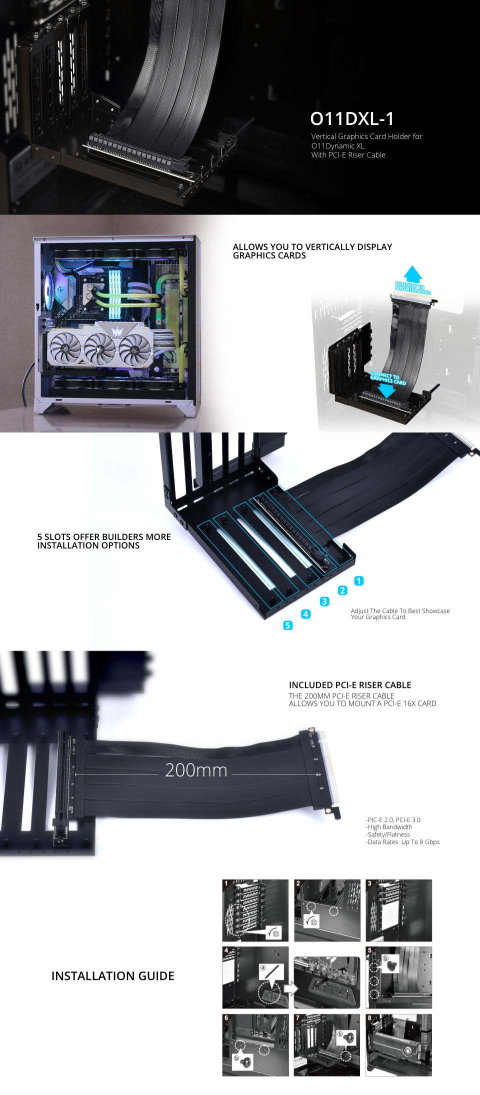 Lian Li O11DXL-1 PCI-E Riser Card Kit features