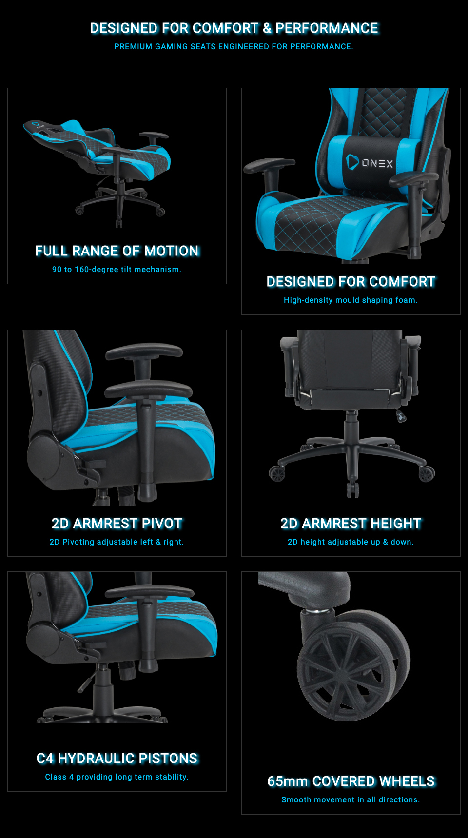 ONEX GX3 Gaming Chair Black Navy features