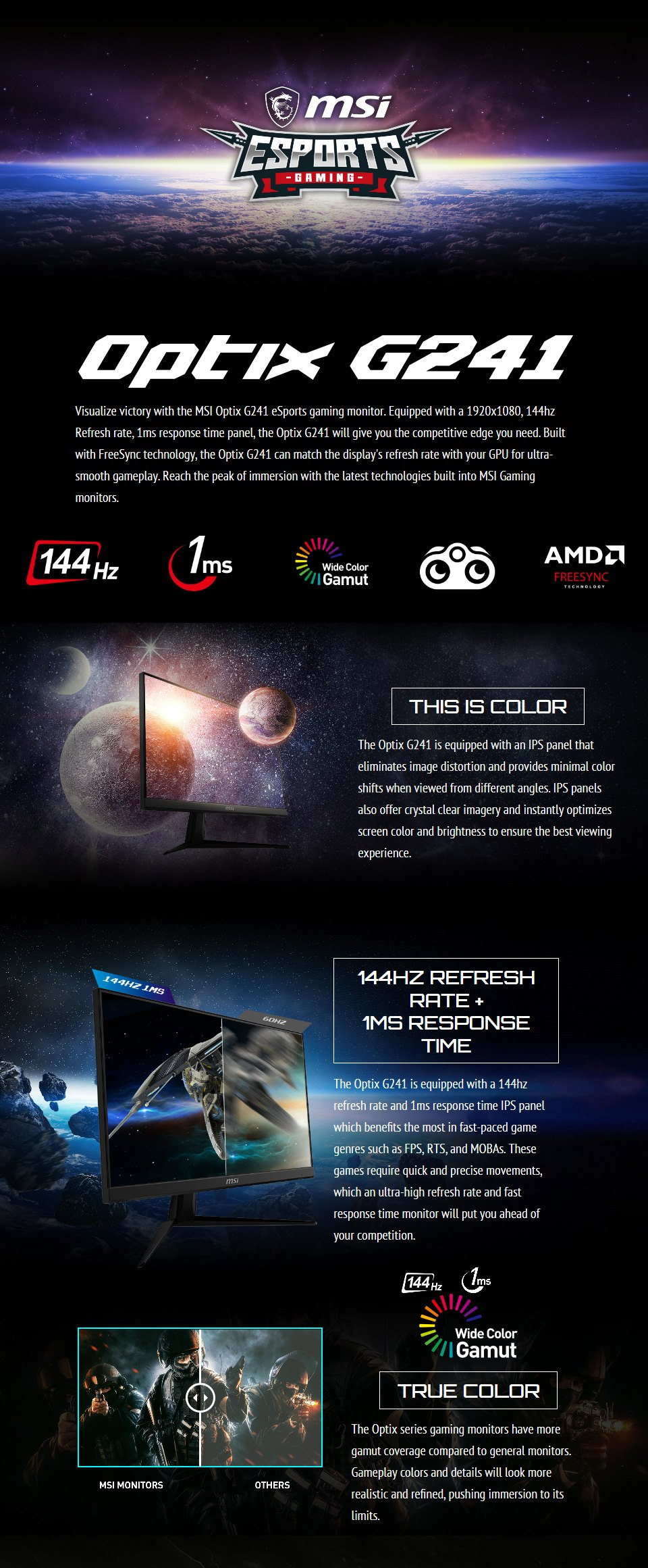 MSI Optix G241 FHD 144Hz FreeSync IPS 23.8in Monitor features