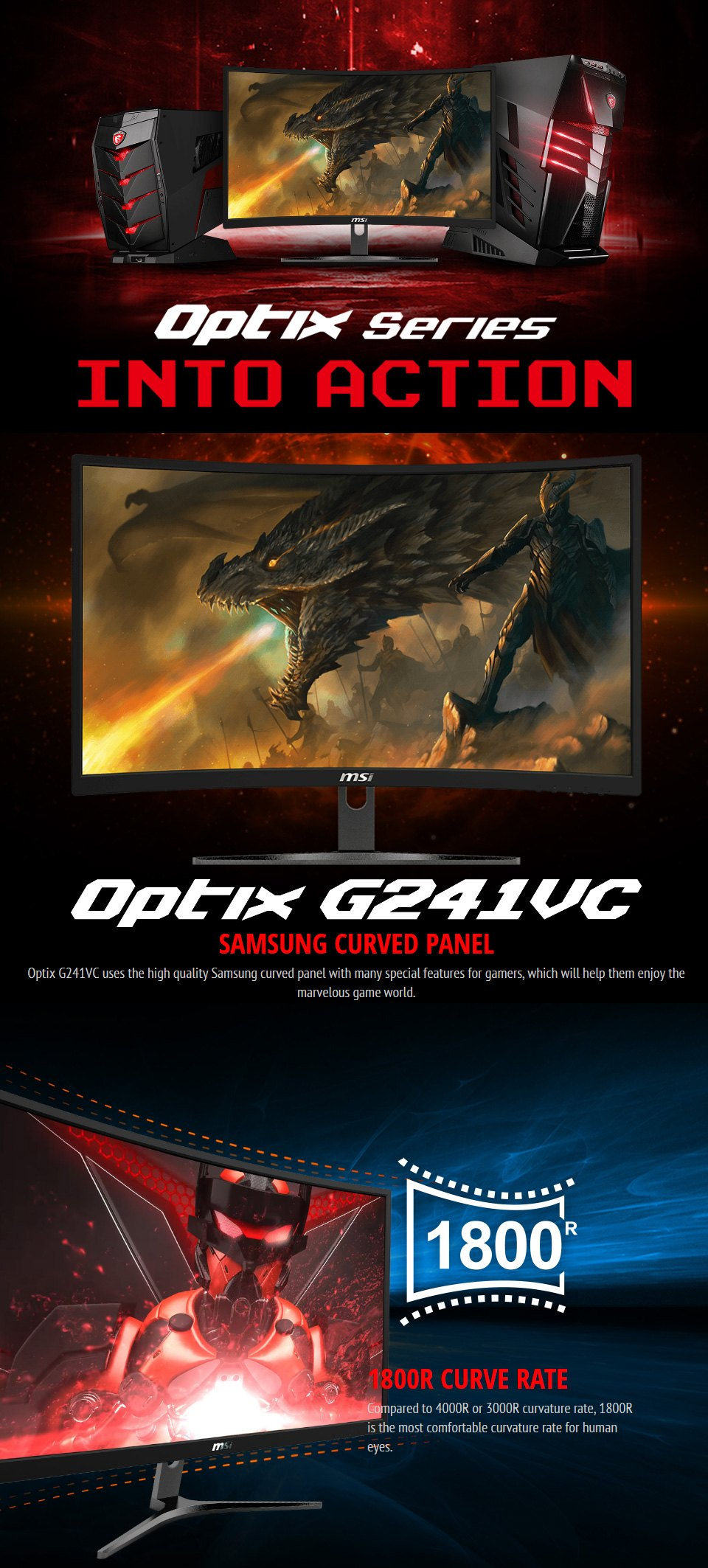 MSI Optix G241VC FHD 75Hz FreeSync Curved 23.6in Monitor features