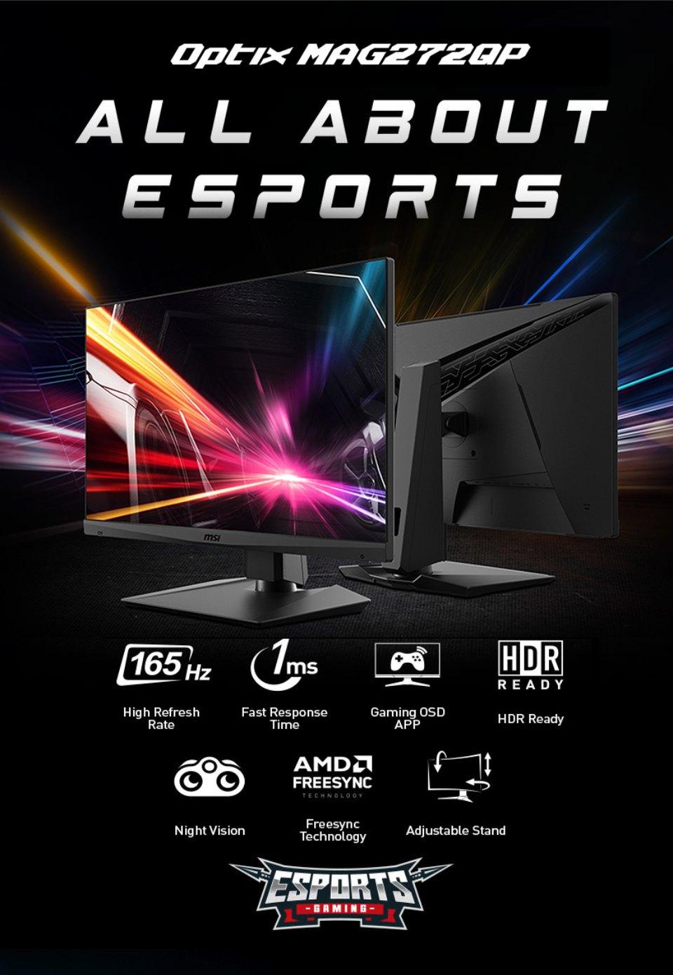 MSI Optix MAG272QP QHD165Hz HDR 27in VA Gaming Monitor features