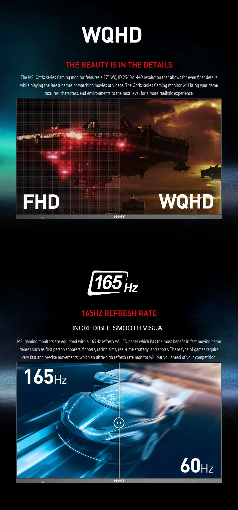 MSI Optix MAG272QP QHD165Hz HDR 27in VA Gaming Monitor features 2