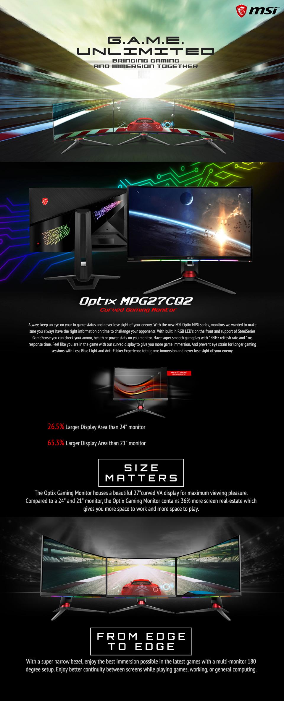 MSI Optix MPG27CQ2 QHD 144Hz Curved RGB 27in VA Gaming Monitor features 2