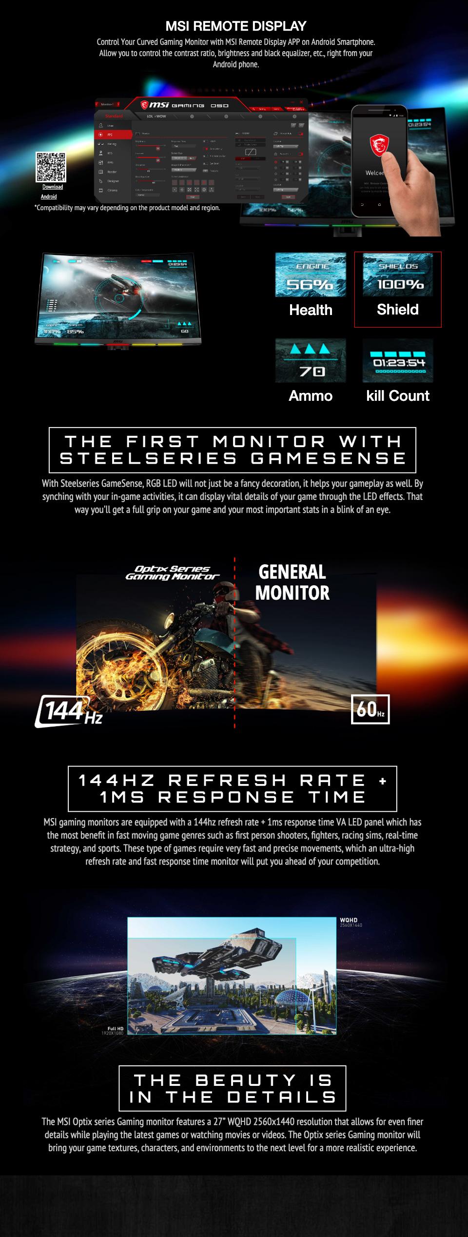 MSI Optix MPG27CQ2 QHD 144Hz Curved RGB 27in VA Gaming Monitor features 3