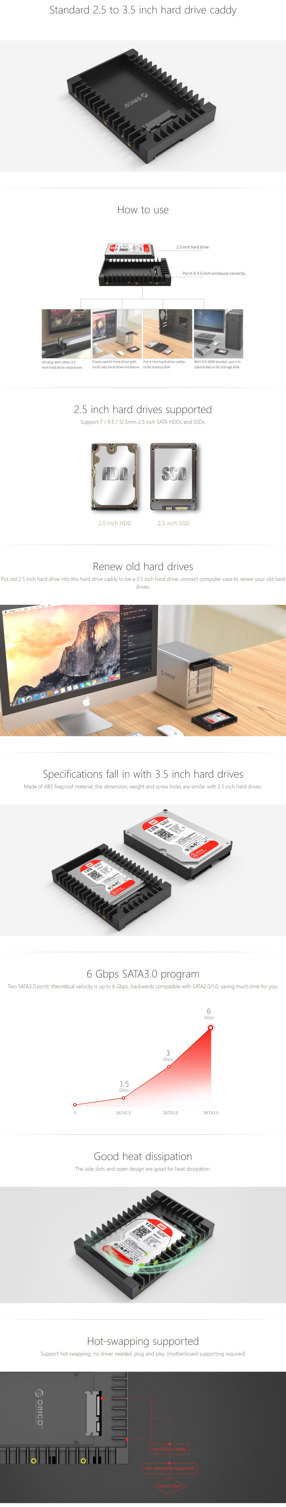 Orico 25 To 35in Hard Drive Caddy 1125ss Bk Pc Case Gear Sata Tebal Hdd 25in Or Solid State Into A Bay Made From Abs Fireproof Material The Screw Holes Align Just Like Regular