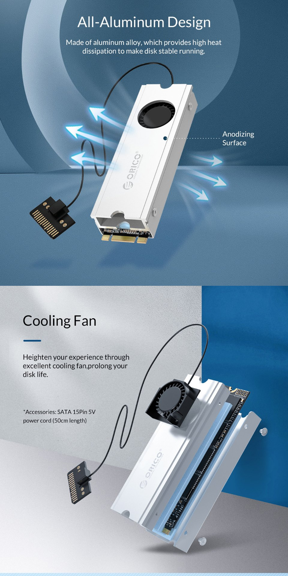 Orico M.2 Heat Sink Silver features