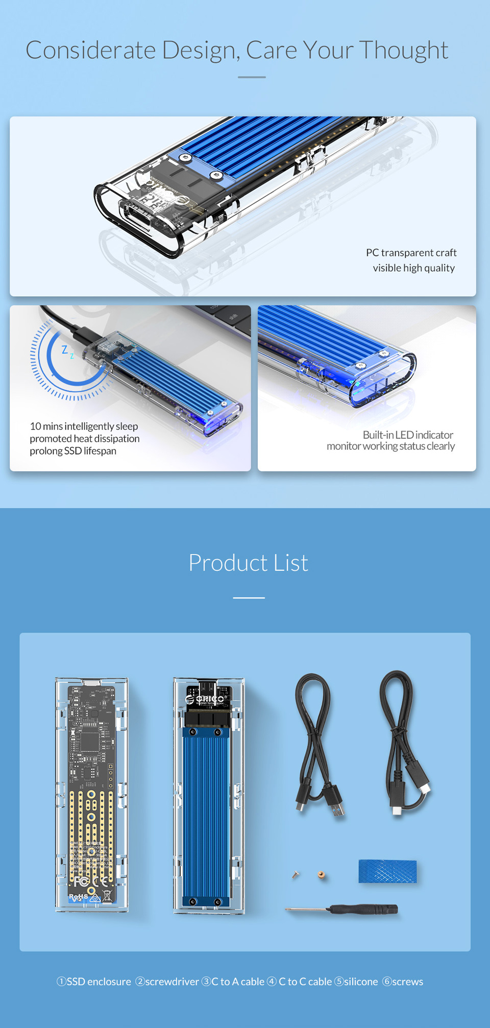 Orico USB 3.1 Type C Gen 2 M.2 Enclosure Transparent Blue features