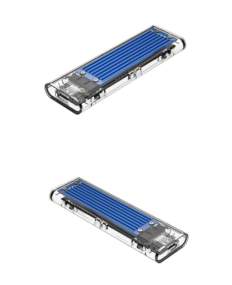 Orico USB 3.1 Type C Gen 2 M.2 Enclosure Transparent Blue features product