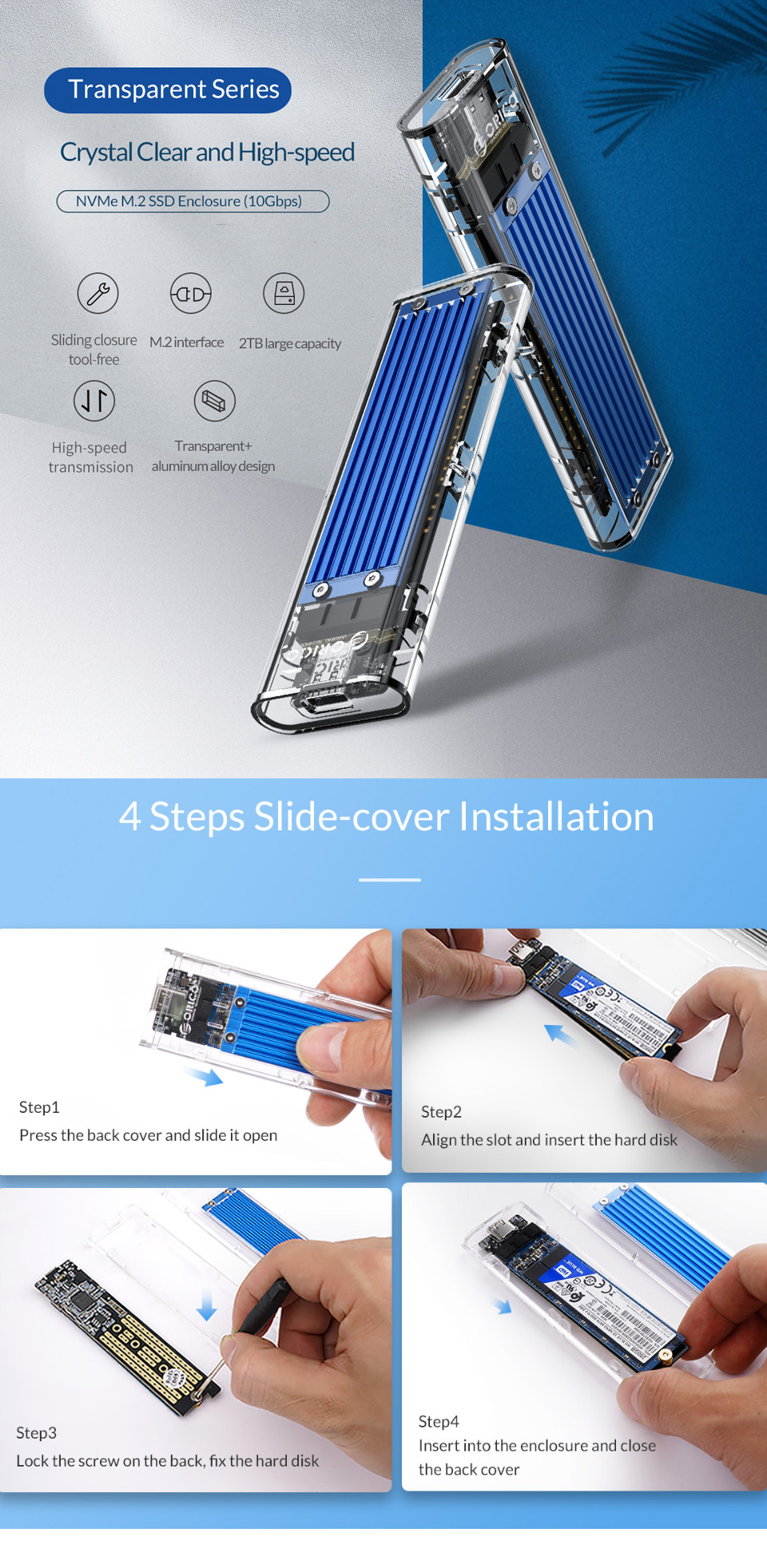 Orico USB 3.1 Type C Gen 2 M.2 Enclosure Transparent Red features