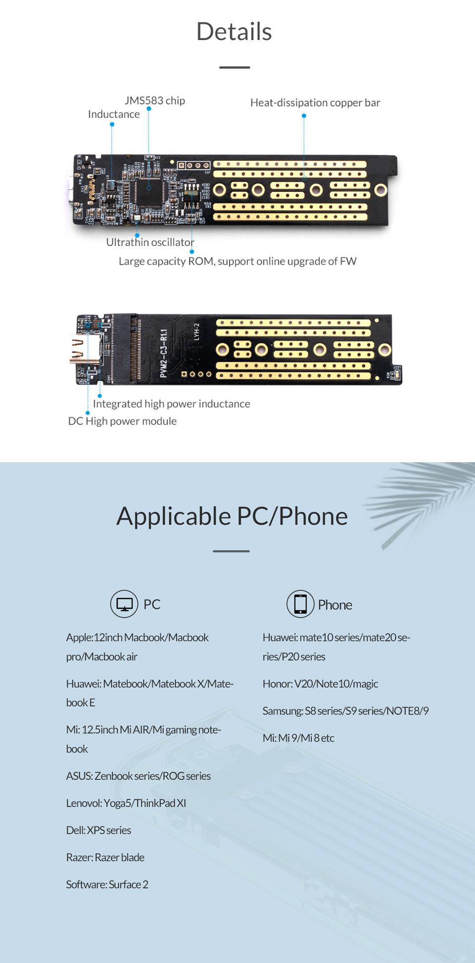 Orico USB 3.1 Type C Gen 2 M.2 Enclosure Transparent Red features 2
