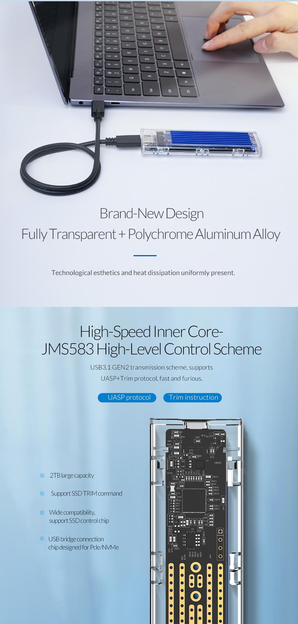 Orico USB 3.1 Type C Gen 2 M.2 Enclosure Transparent Red features 3