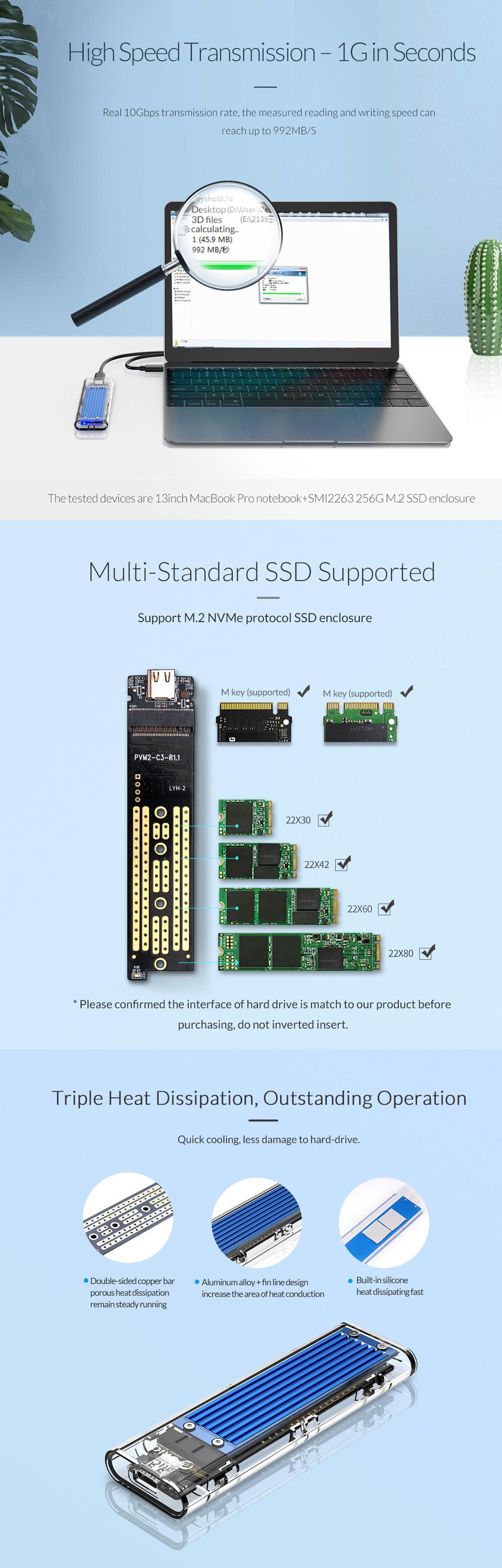 Orico USB 3.1 Type C Gen 2 M.2 Enclosure Transparent Red features 4
