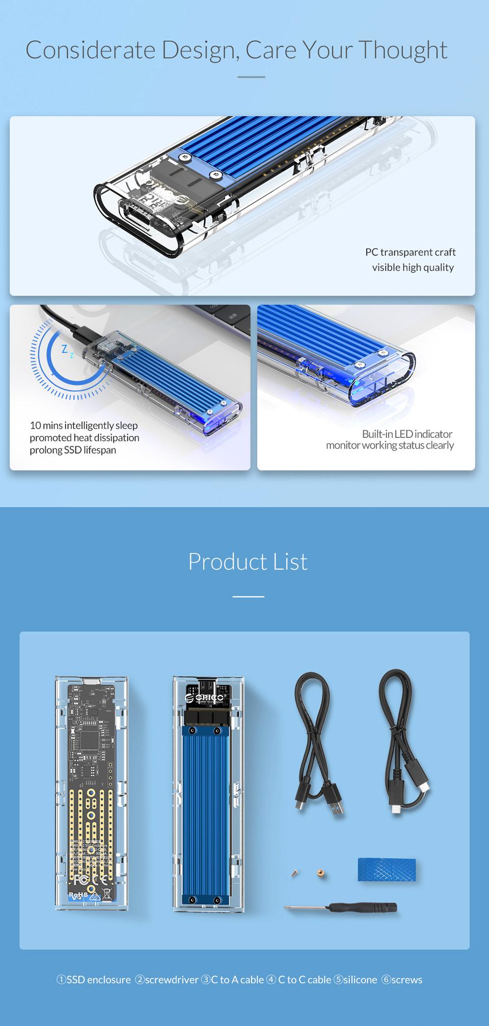 Orico USB 3.1 Type C Gen 2 M.2 Enclosure Transparent Red features 5