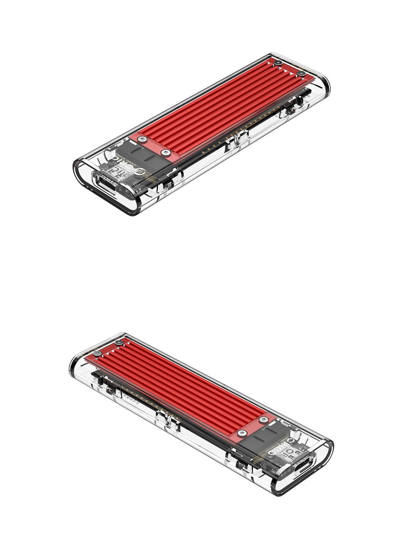 Orico USB 3.1 Type C Gen 2 M.2 Enclosure Transparent Red product