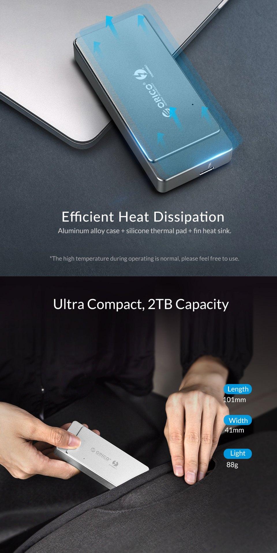 Orico Thunderbolt 3 M.2 NVME Enclosure Silver features 3