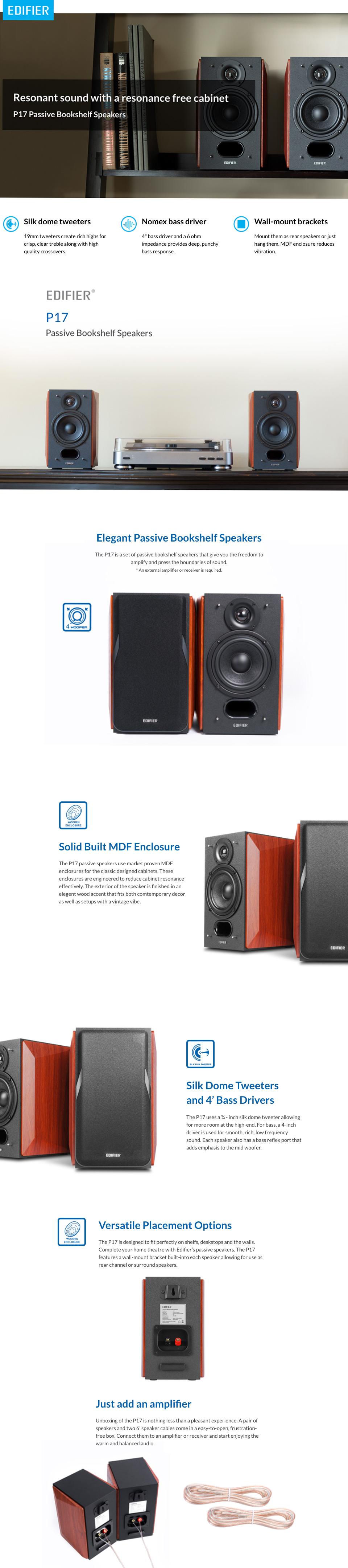 Edifier P17 Premium Wooden Passive Bookshelf Speakers features