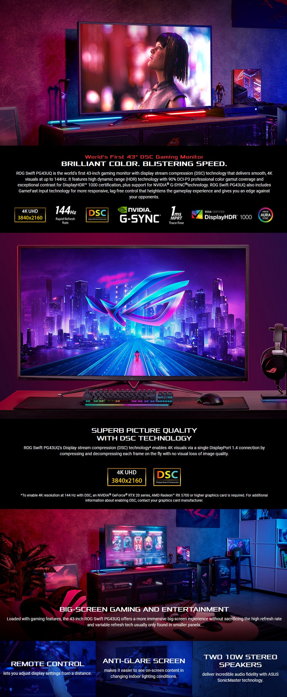 Asus ROG PG43UQ 4K UHD 144Hz G-Sync HDR 43in Monitor features