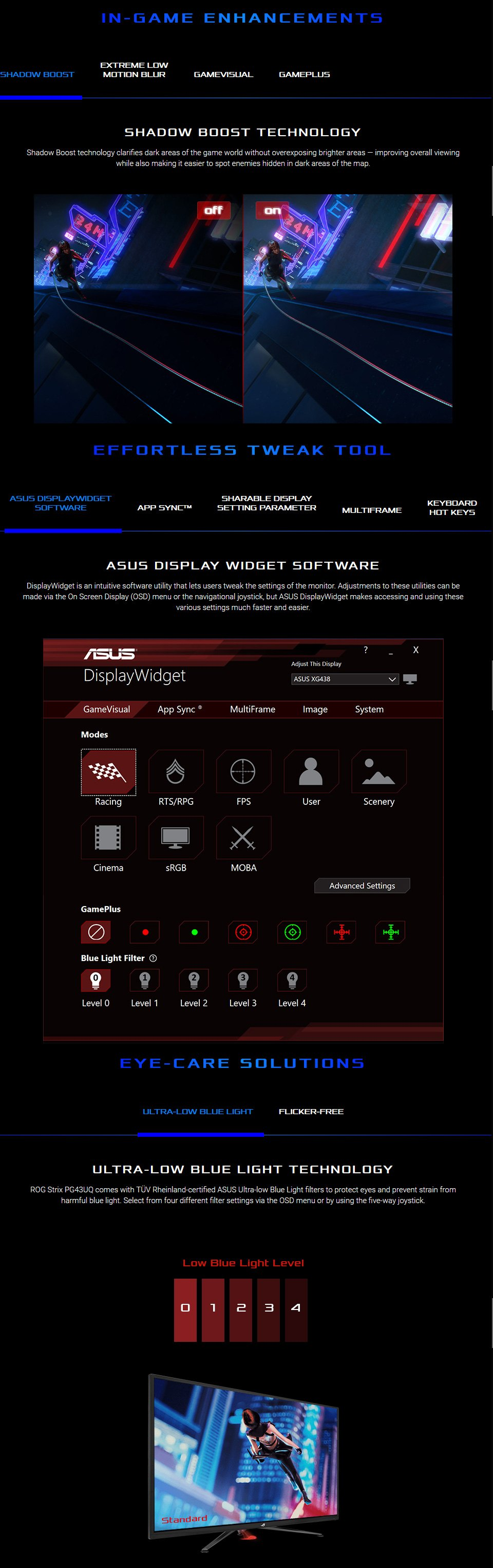 Asus ROG PG43UQ 4K UHD 144Hz G-Sync HDR 43in Monitor features 3