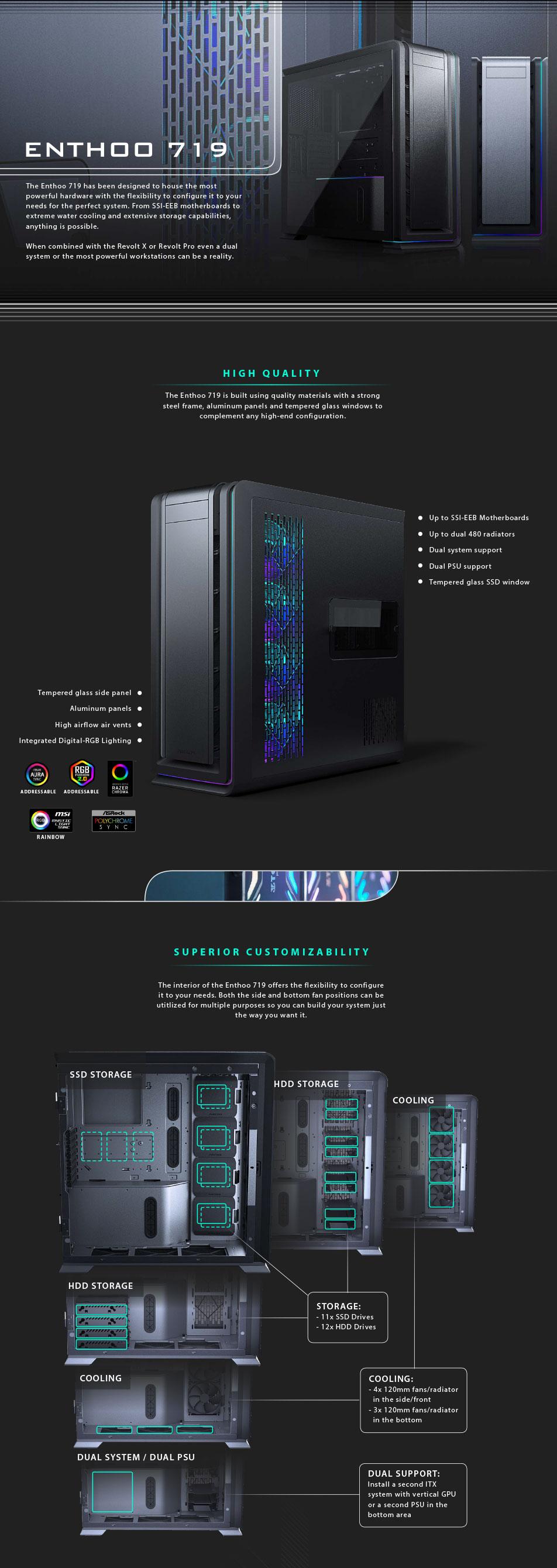 Phanteks Enthoo 719 D-RGB TG Full Tower Case Satin Black features
