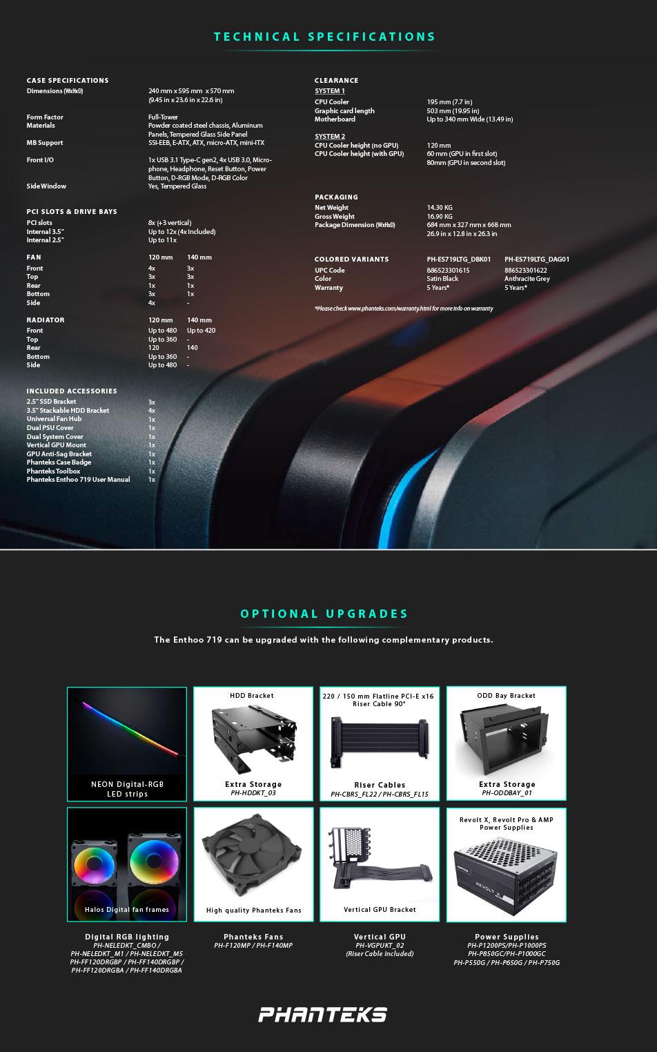 Phanteks Enthoo 719 D-RGB TG Full Tower Case Satin Black features 4