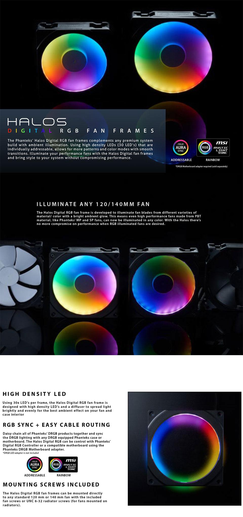 Phanteks Halos 120mm Digital RGB Plastic LED Fan Frame