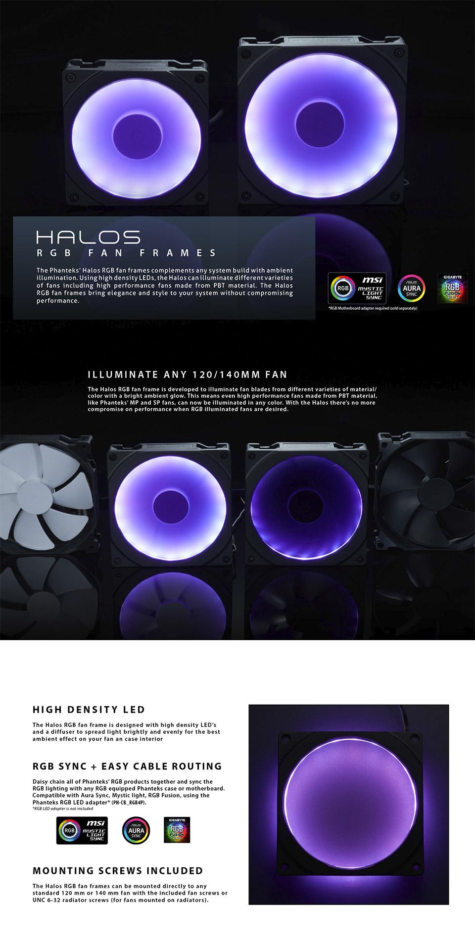 Phanteks Halos 140mm Rgb Led Fan Frame Ph Ff140rgbp Bk01