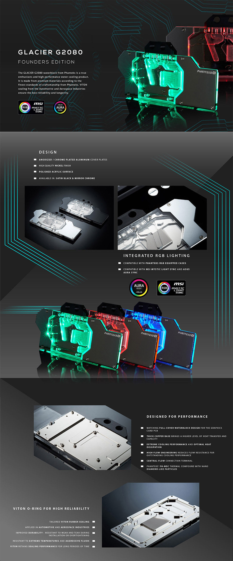 Phanteks GB2080FE RTX 2080 FE GPU RGB Waterblock Black