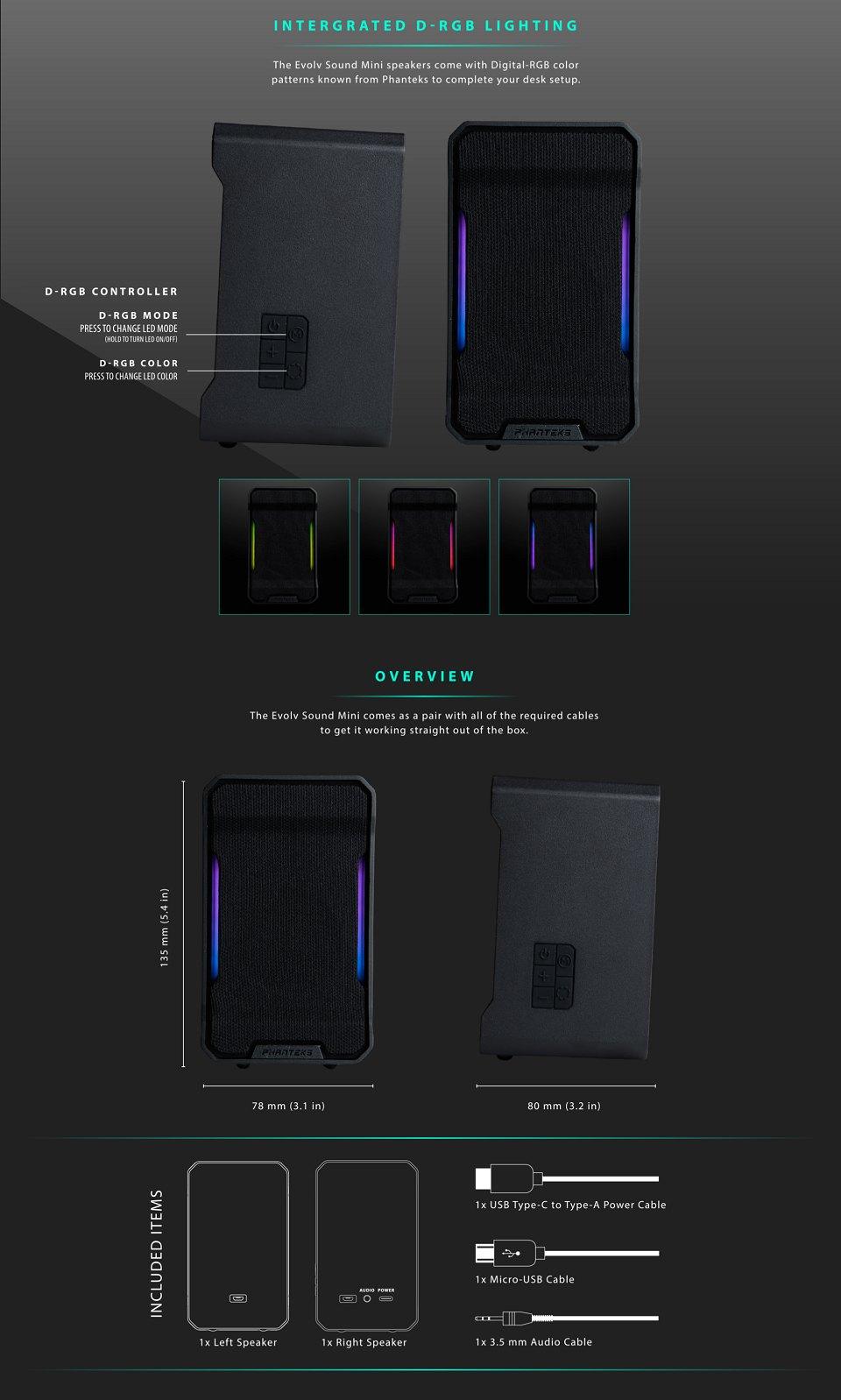 Phanteks Evolv Sound Mini RGB Speakers features 2