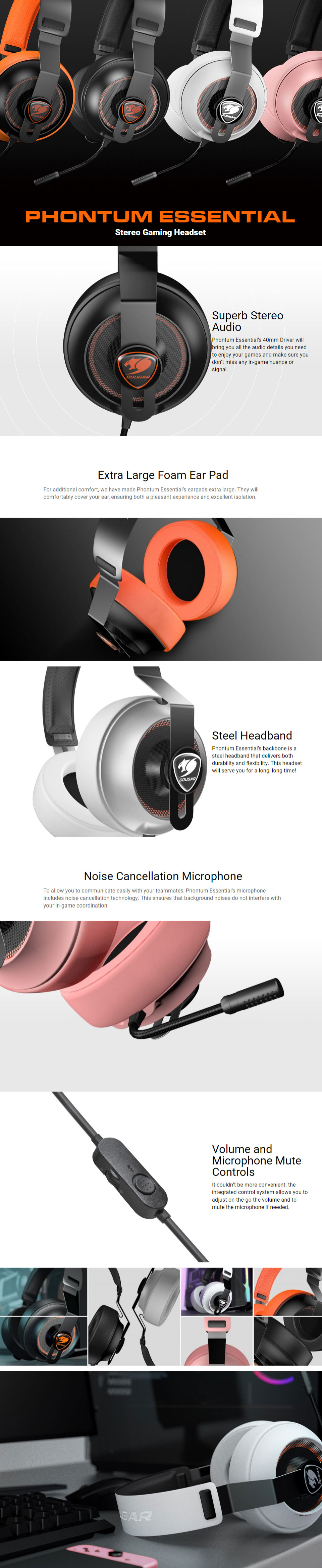 abb0bd7cfb9d Cougar Phontum Essential Stereo Gaming Headset Ivory  CGR-PHONTUM-E ...