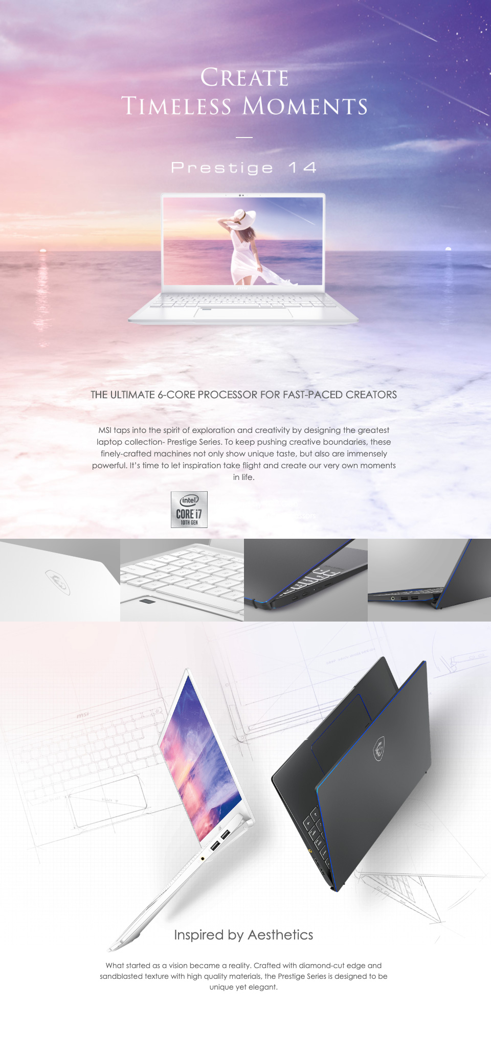MSI Prestige 15 GTX1650 14in UHD 100% ADOBE RGB Notebook features
